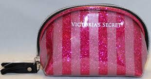 victoria s secret glitter pink stripe small makeup pouch 21 90