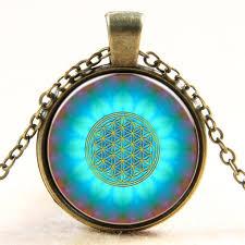 new fashion blue flower of life logo pendant chakra necklace sacred geometry jewelry art gl cabochon necklace