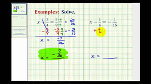 excel solve one step equations with fraction adding subtracting