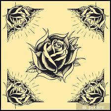 Nálepka Růže A Design Rámu Tattoo Styl Pixerstick