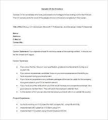 ... Resume Freshers Format 1 Sample CV For ...