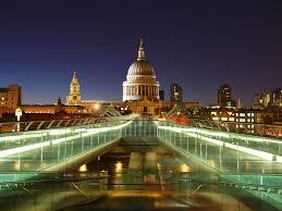 Wallpaper England London Church Lights Night 5120x2880