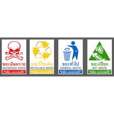 CHINTER สติกเกอร์ติดถังขยะ PVC กันน้ำ ทนแดดดดด ขนาดA4 คัดแยกขยะ  สำหรับติดหน้าถังขยะพลาสติก ตั้งแต่14ลิตร ถึง 240 ลิตร