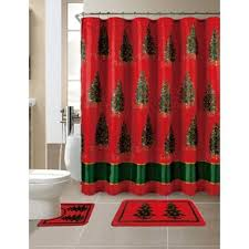 15 Piece Christmas Printed Shower Curtain Set Bathroom Curtains Sets | Wayfair
