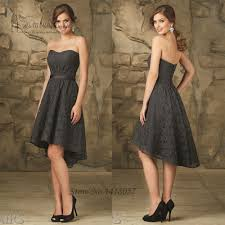 Cheap Dark Grey Short Lace Bridesmaid Dresses Strapless Vestido De