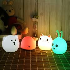 Touch Silikon Led Nachtlicht Usb Aufladbare Baby Kinder Kinder Geschenk Tier Cartoon Lampe Nacht Schlafzimmer Wohnzimmer