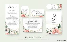 Place Card Design Wedding Menu Information Label Table Number And Place