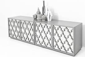 tangier mirrored credenza in greystone  modshop