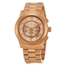 michael kors runway chronograph rose gold tone men s watch mk8096