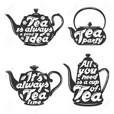 Quotes About Tea Set Of Tea Pot Silhouettes With Quotes Tea Party