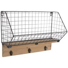 metal wire wall basket with wall hooks