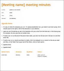 Meeting Agenda Minutes Template Meeting Of Minute Barca Fontanacountryinn Com