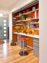hideaway office design. Inspiration For A 1950s Builtin Desk Medium Tone Wood Floor Home Office Remodel In Hideaway Design T