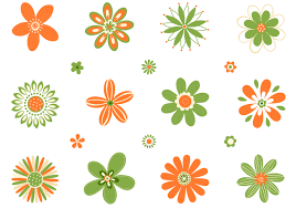 Retro Oranje Groene Bloemen Vector Set Download Gratis Vectorkunst