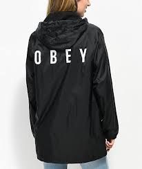 obey english o black hooded trench jacket