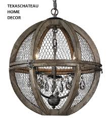 FRENCH FARMHOUSE WOOD & CHICKEN WIRE & CRYSTAL SPHERE PENDANT CHANDELIER  INDUSTRIAL LOFT TUSCAN