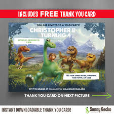 free dinosaur party invitations the good dinosaur 7x5 in birthday party invitation with free editable thank you card