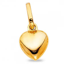 details about small bubble heart pendant solid 14k yellow gold love charm polished tiny