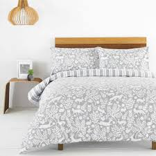 riva paoletti skandi woodland reversible 100 brushed cotton flannelette duvet cover set grey double linens limited