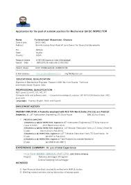 Qc Inspector Resume Quality Engineer Resume Format Quality Control