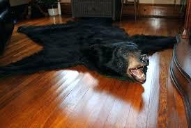 faux bear skin rug fur pattern black with head