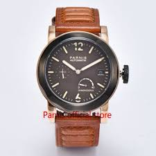 online get cheap seagull watches automatic men parnis aliexpress 43mm men watch parnis seagull watches automatic movement gold case brown leather strap shipping