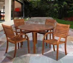 ia arizona 5 piece wood outdoor dining set with 47 round table and 4 stackable chairs