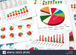 Investment Charts And Graphs Financial Printed Paper Charts Graphs And Diagrams Stock