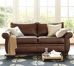 cognac leather sofa inside pearce pottery barn designs 1