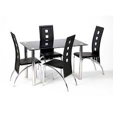 glass dining sets 4 chairs. bizet black glass dining table and 4 bellini chairs sets a