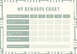 Reward Chart Template Toddler Light Green Striped Brushstrokes Behaviour Toddlers Reward