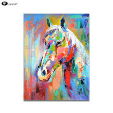 colorful horse painting wall painting art canvas animal home decor colorful horse oil for living room colorful horse painting