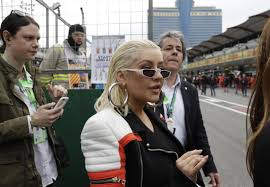 american singer christina aguilera arrives at the starting grid prior to the start of the azerbaijan