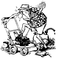 lawnmower man clipart. free black and white clipart lawnmower man