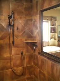 showers with tile walls. tile wall model and brown color nice pattern small soap space dark shower showers with walls