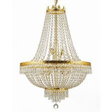 empire 9 light crystal chandelier gold