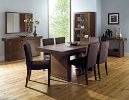 dining sets seater: bentley designs akita walnut panel dining table  square back brown chairs