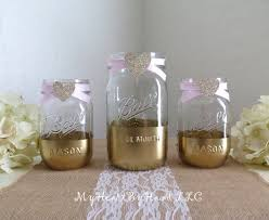 Decorating Mason Jars With Ribbon Gold and Glitter Mason Jars Baby Shower Centerpieces Glitter 53