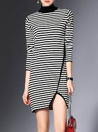 Shop Sweater Dresses - Black Stripes Knitted Casual Sheath Sweater Dress  online. Discover unique designers