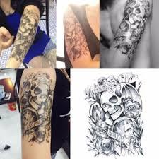 Gli Uomini Di Sesso Maschile Sexy Tatuaggio Temporaneo Cranio