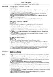 Clinical Nutrition Manager Resume Samples | Velvet Jobs