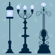 design classic lighting. Collection Street Lamps Art Nouveau Style, Isolated Gray Background. Figured Forged Lights. Design Classic Lighting G