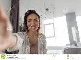 Schönes Mädchen Das Selfie Porträt Foto Im Schlafzimmer Am Morgen