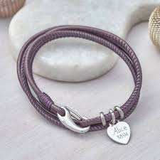 personalised sterling silver and leather wrap bracelet