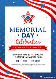 Memorial Day Poster Templates Vector Illustration Usa Flag
