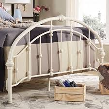 Amazon.com: White Antique Vintage Metal Bed Frame in Rustic Wrought ...