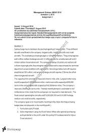 management science assignment qbus management science management science assignment 1