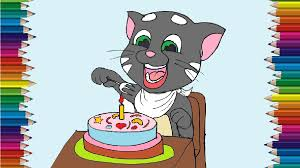 Talking Tom And Birthday Cake Drawing And Coloring Cartoon Drawing