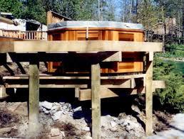 hot tub deck. Hot Tub Installed On A Tall Deck. Deck