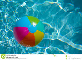 pool water with beach ball. Beach Ball In Pool Water With